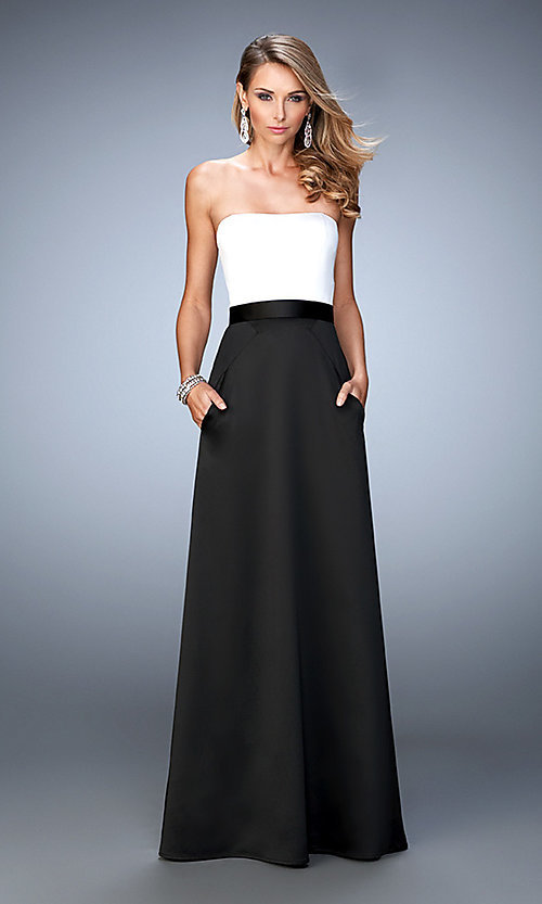 Image of strapless two toned floor length dress Style: LF-21555 Front Image