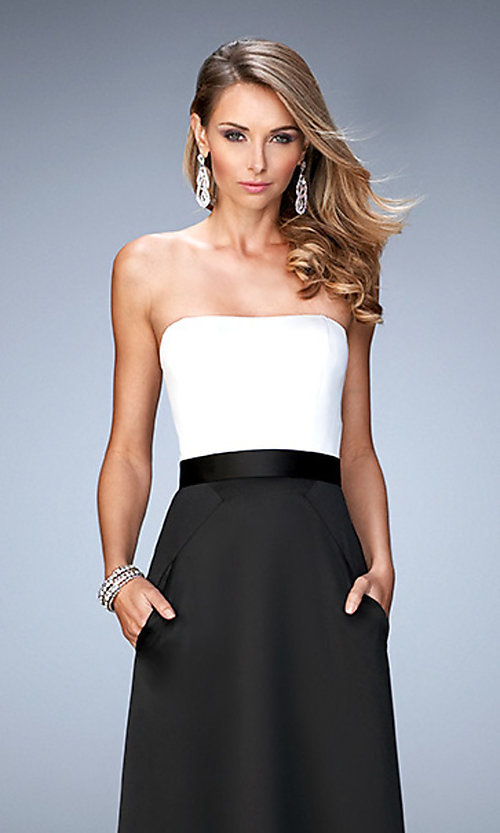 Image of strapless two toned floor length dress Style: LF-21555 Detail Image 1
