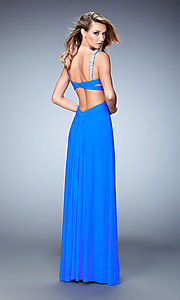 Image of long open-back La Femme dress with beaded straps. Style: LF-22068 Back Image