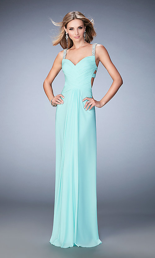 Image of long open-back La Femme dress with beaded straps. Style: LF-22068 Detail Image 1