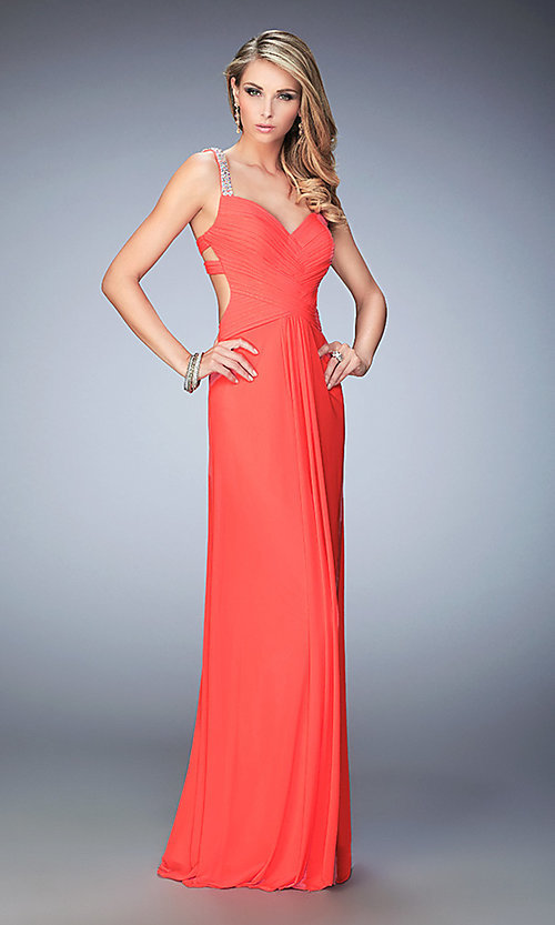 Image of long open-back La Femme dress with beaded straps. Style: LF-22068 Front Image