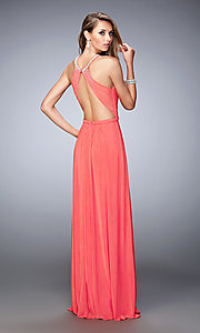 Image of high-neck La Femme open-back dress. Style: LF-21974 Back Image