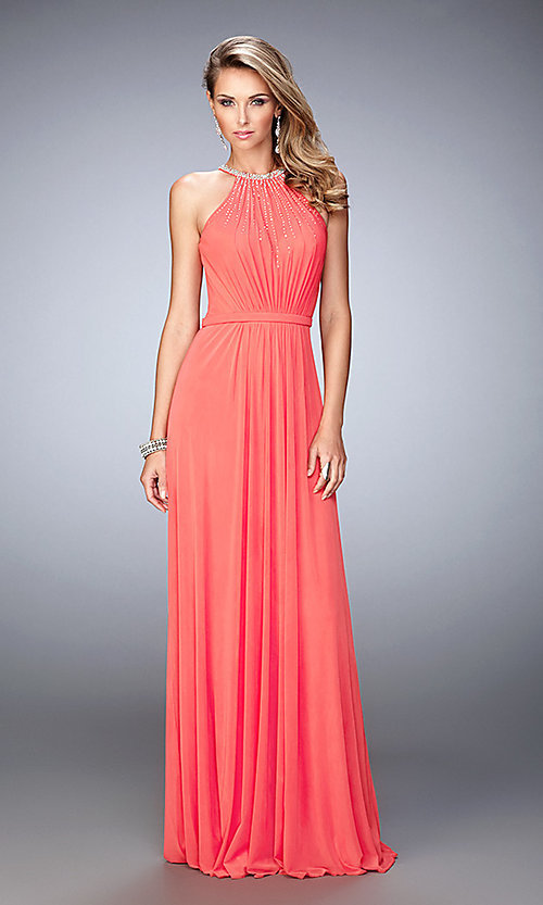 Image of high-neck La Femme open-back dress. Style: LF-21974 Front Image