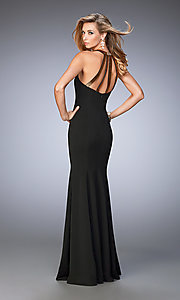 Image of long black open-back sweetheart La Femme dress  Style: LF-22329 Back Image