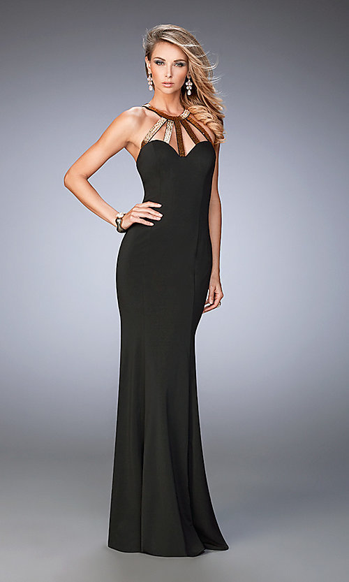 Image of long black open-back sweetheart La Femme dress  Style: LF-22329 Front Image