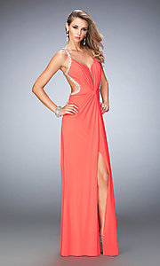 V-Neck Long La Femme Open Back Prom Dress