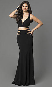 Image of long two piece sheer illusion cut-out dress Style: LF-22367 Back Image