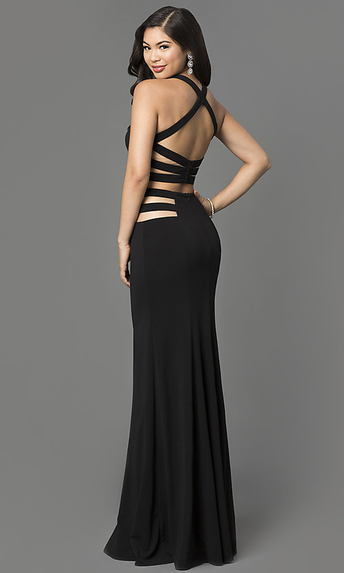 Image of long two piece sheer illusion cut-out dress Style: LF-22367 Front Image