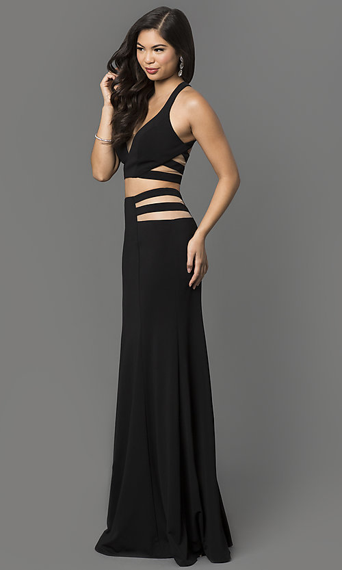 Image of long two piece sheer illusion cut-out dress Style: LF-22367 Detail Image 1
