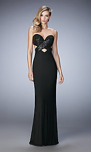 Image of long open-back La Femme sweetheart dress Style: LF-22150 Front Image