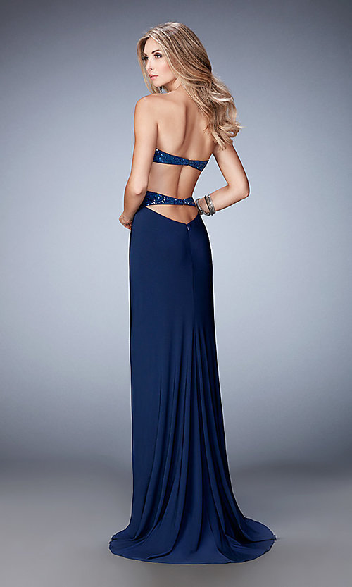 Image of long open-back La Femme sweetheart dress Style: LF-22150 Back Image