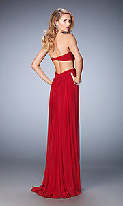 Image of strapless pleated long sweetheart dress Style: LF-21948 Back Image