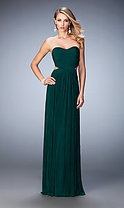 Image of strapless pleated long sweetheart dress Style: LF-21948 Detail Image 2