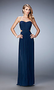 Image of strapless pleated long sweetheart dress Style: LF-21948 Front Image