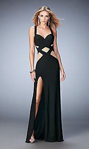 Image of long sleeveless illusion cut-out dress Style: LF-22172 Front Image