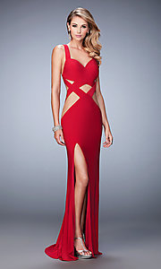 Image of long sleeveless illusion cut-out dress Style: LF-22172 Detail Image 1
