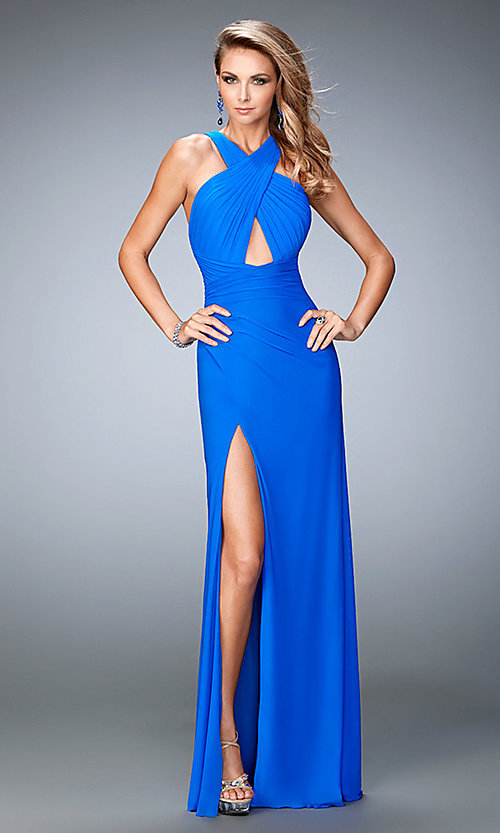 Image of long open-back cross-over prom dress by La Femme. Style: LF-22380 Front Image