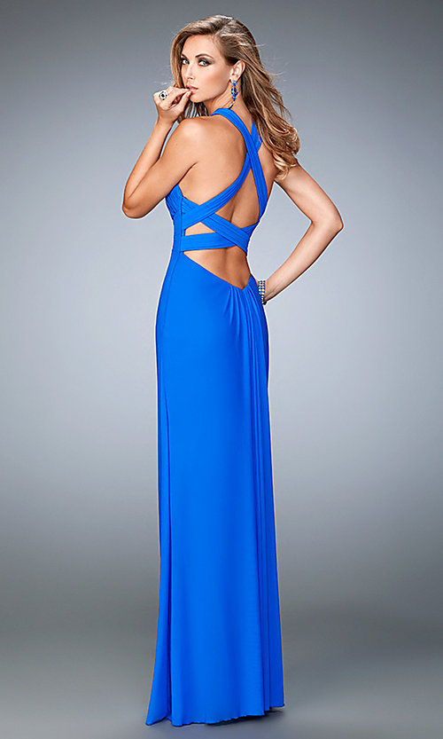 Image of long open-back cross-over prom dress by La Femme. Style: LF-22380 Back Image