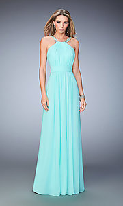 High Neck Open Back La Femme Dress with Beaded Straps