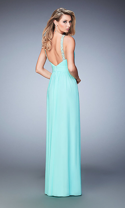 Image of long high neck open back dress Style: LF-22107 Back Image