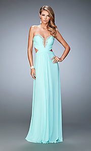 Long Beaded Neckline Strapless Sweetheart Dress