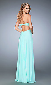 Image of floor length strapless sweetheart dress Style: LF-22196 Back Image