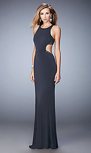 Image of open-back sleeveless long La Femme dress. Style: LF-22469 Detail Image 1