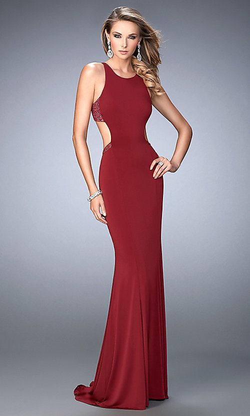 Image of open-back sleeveless long La Femme dress. Style: LF-22469 Front Image