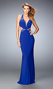 Low V-Neck La Femme Prom Gown with Strappy Back