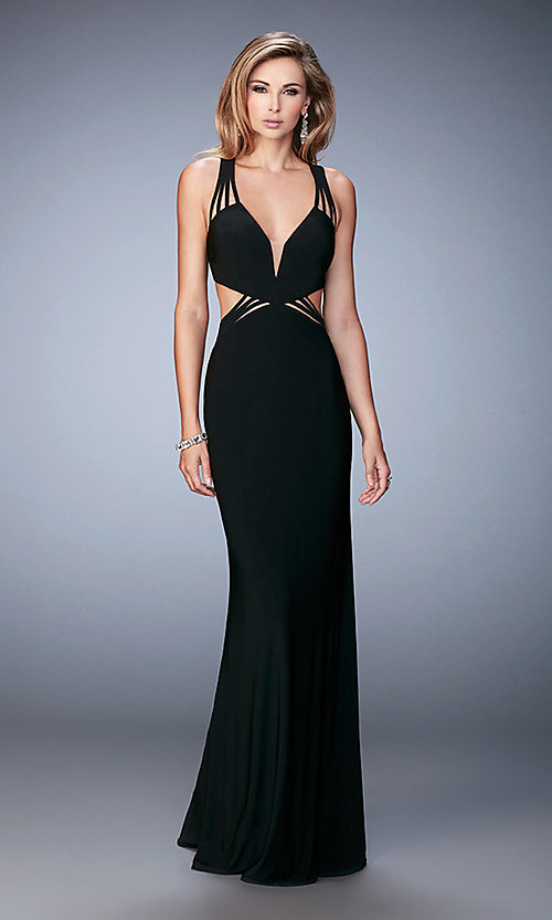 Image of low v-neck La Femme prom gown with strappy back. Style: LF-22240 Detail Image 1