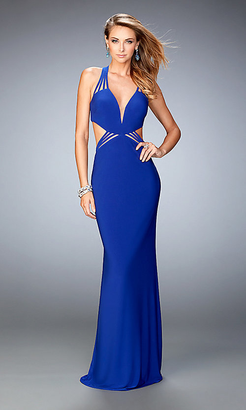 Image of low v-neck La Femme prom gown with strappy back. Style: LF-22240 Front Image
