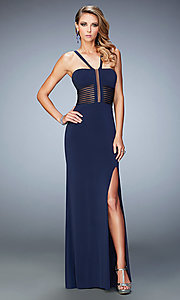 Open Back Long Prom Dress with Sheer Details by La Femme