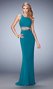 Sheer Midriff Mock Two Piece Long La Femme Prom Dress