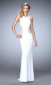 Sheer Racer Back Long Prom Dress by La Femme