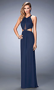 Image of long prom dress with side cut-outs by La Femme Style: LF-22664 Front Image