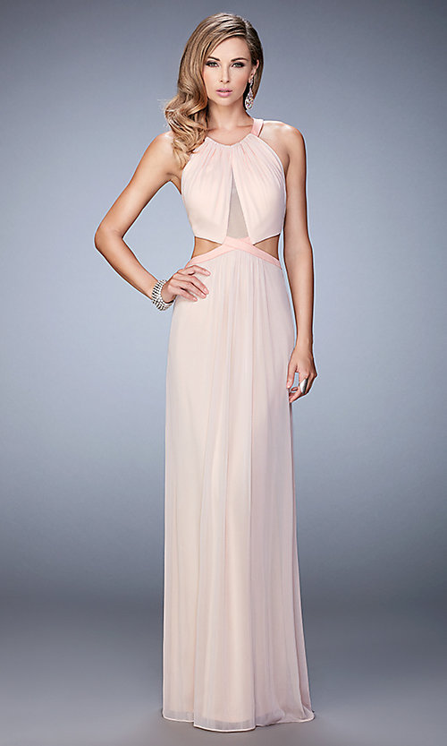 Image of long prom dress with side cut-outs by La Femme Style: LF-22664 Detail Image 2