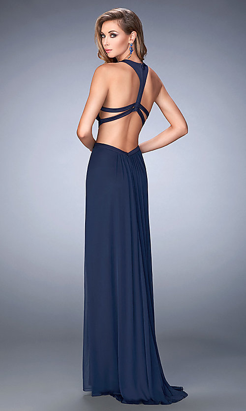 Image of long prom dress with side cut-outs by La Femme Style: LF-22664 Back Image
