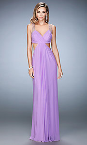 V-Neck Long Empire Waist La Femme Prom Dress with Cut Outs
