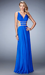 Image of long La Femme v-neck dress with side cut-outs. Style: LF-22762 Front Image