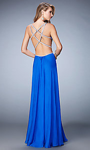 Image of long La Femme v-neck dress with side cut-outs. Style: LF-22762 Back Image