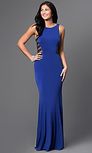La Femme Sleeveless Long High Neck Prom Dress
