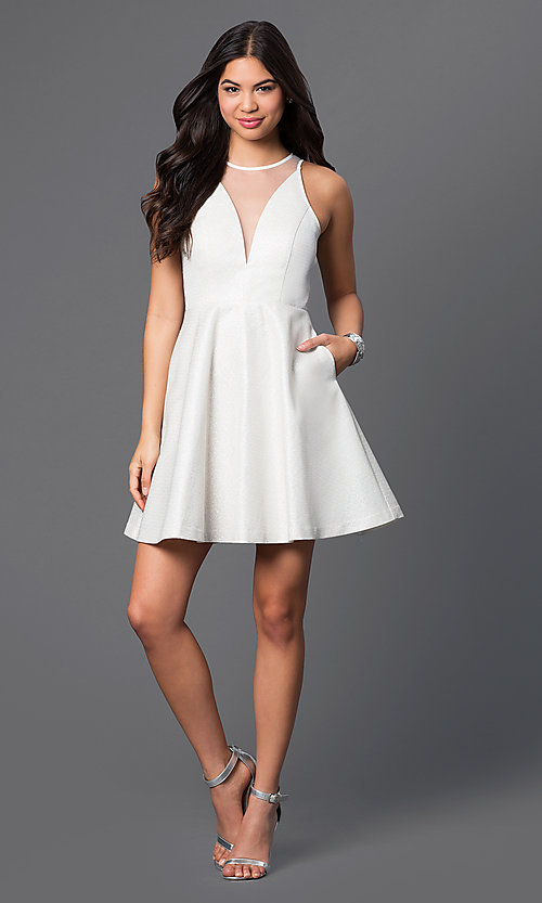 Image of short a-line illusion party dress with pockets. Style: MT-7653 Detail Image 3