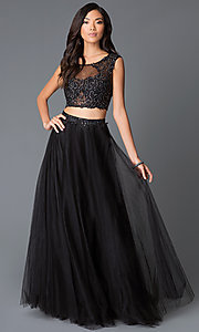 Long Black Two-Piece Sequin-Lace Illusion Dress