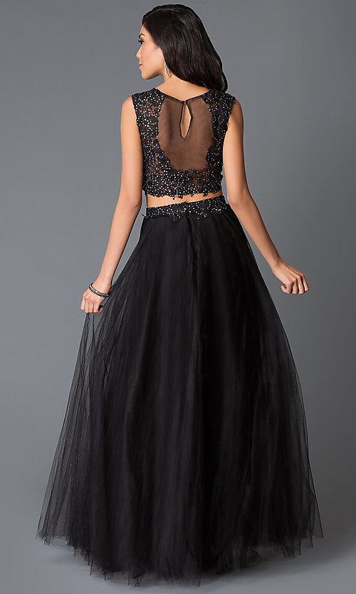 Image of long black two-piece sequin-lace illusion dress Style: NA-3136 Back Image