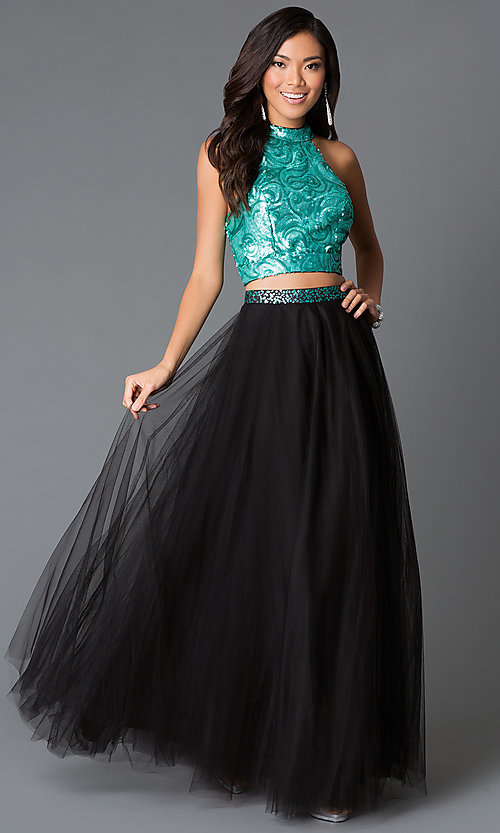 Image of long two-piece dress with high-neck sequin top Style: NA-80190Q Front Image