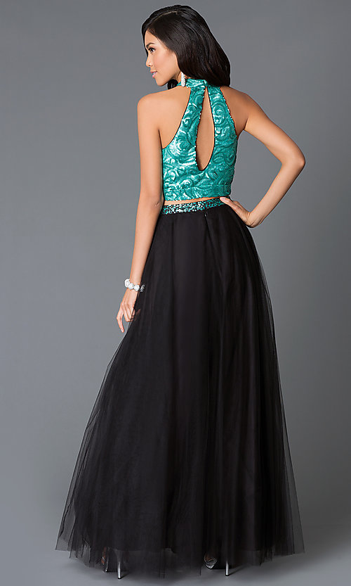 Image of long two-piece dress with high-neck sequin top Style: NA-80190Q Back Image