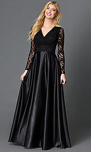 V-Neck Black Floor Length Long Sleeve Dress with Lace Bodice and Satin Skirt