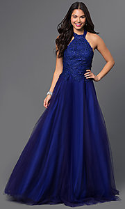Floor-Length High-Neck Halter Beaded Prom Dress