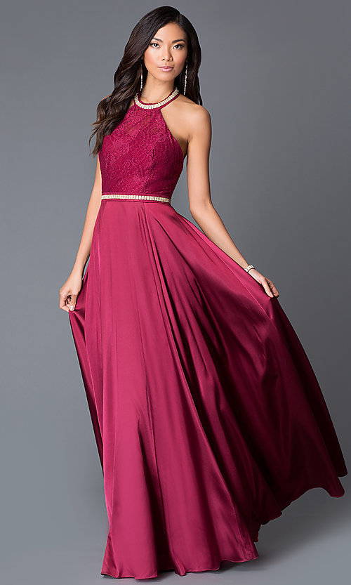 Long Satin and Lace Halter-Top Prom Dress-PromGirl