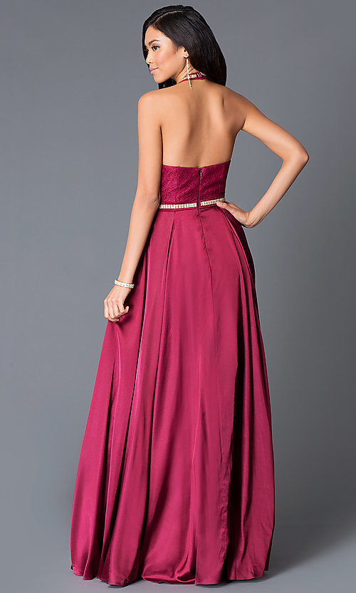 Image of long jewel-neck lace halter-top prom dress Style: NA-8198Q Back Image